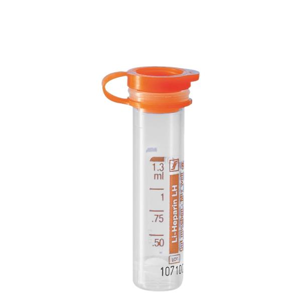 Mikro-Probengefäß 1,3 ml, PE-Softstopfen, Lithium-Heparin, mit Etikett, 100 Stück