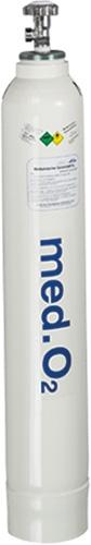Sauerstoff-Flasche, 10,0 l x 200 bar, gefüllt, mit Glockenkappe und Halsring, mit Integralboden