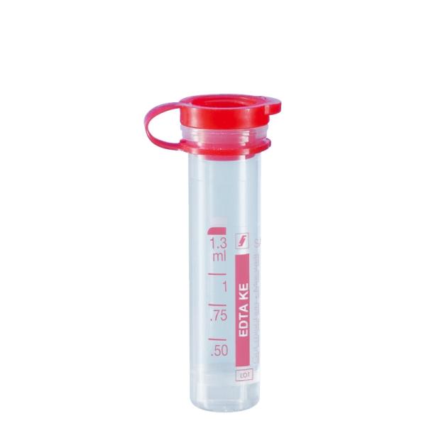 Mikro-Probengefäß 1,3 ml, PE-Softstopfen, Kalium-EDTA, mit Etikett, 100 Stück