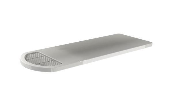 Tischplatte weiß Dental mit integriertem Gitterrost aus GFK mit Rand und Ablauf