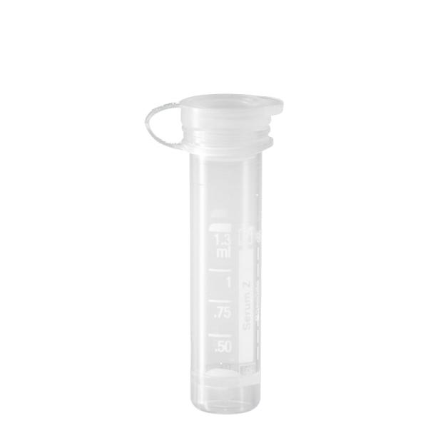 Mikro-Probengefäß 1,3 ml, PE-Softstopfen, Serum, mit Etikett, 100 Stück