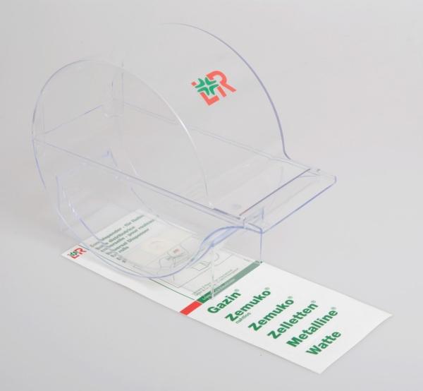 Kombispender, glasklar, leer, für gerollte Verbandstoffe