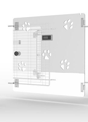 Polycarbonattür Tür zu Tierbox Typ 2 mit 5 Pfoten als Lüftungsöffnung