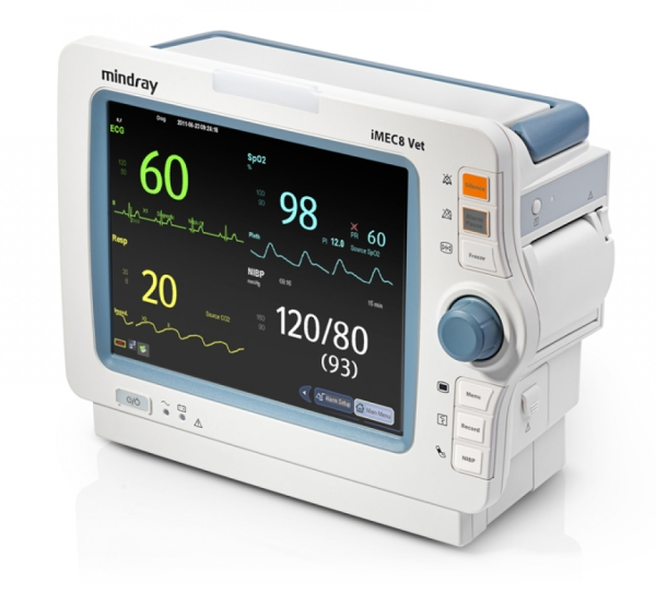 iMEC8 Vet Touch Screen, Mindray SpO2, 3/5 Kanal EKG, NIBP, 2*TEMP, IBP, CO2, Recorder, USB, SD Karte
