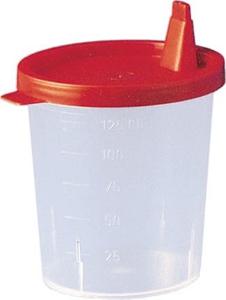 Urinbecher 125 ml mit Schnappdeckel, rot, 500 Stück