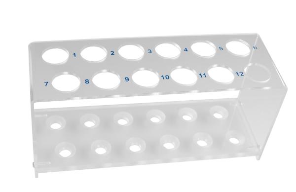 Reagenzglasgestell Plexi-Glas für 12 Gläser, bis 18 mm
