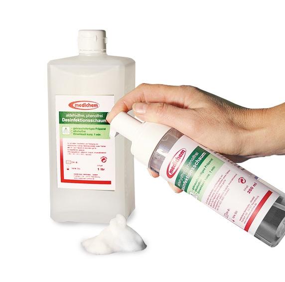 Medichem Desinfektionsschaum Aerosolfreie Schnelldesinfektion von Flächen